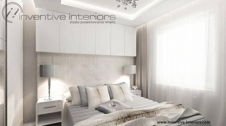 Projekt sypialni Inventive Interiors - połączenie bieli, beżu i szarości w subtelnej kobiecej sypialni