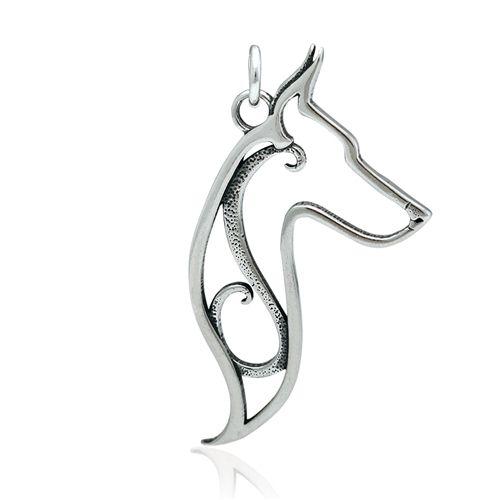 Sterling Silver Doberman/ Miniature Pinscher Pendant