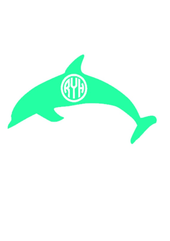 monogrammed dolphin decal personalized by meowmeowhousedesigns   7 00