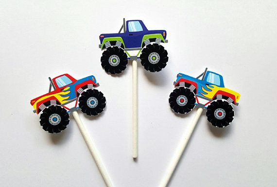 Monster Truck Cupcake Toppers  Monster Truck Cake by CraftyCue