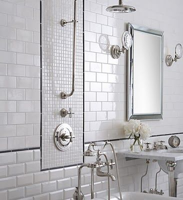 White Subway Tile Bathroom Design, Pictures, Remodel, Decor And Ideas    Page 3 Enjoy The Thin Black Tile.
