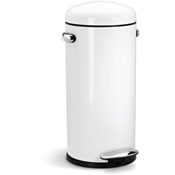 simplehuman Round Retro Steel Pedal Bin - White - 4.5L ($47) ❤ liked on Polyvore featuring home, home decor, small item storage, steel bucket, steel bin, white bin, white home decor and white bucket