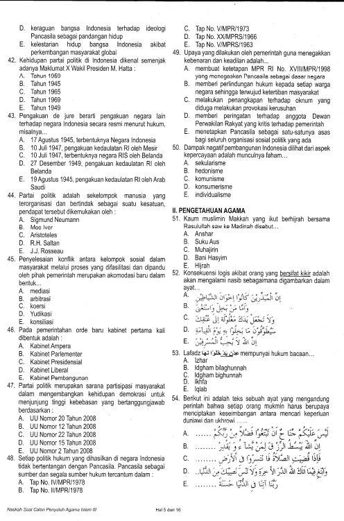 DOWNLOAD CONTOH SOAL LATIHAN TES TENAGA PENYULUH AGAMA ISLAM NON PNS   FORUM GURU INDONESIA
