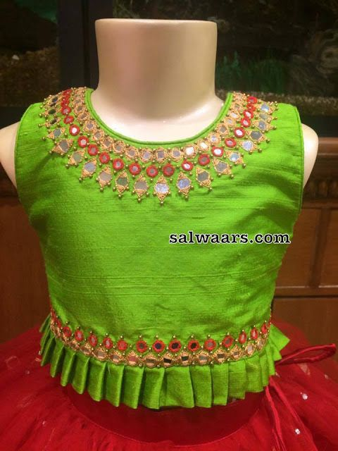 Red Mirror Lehenga Green Blouse