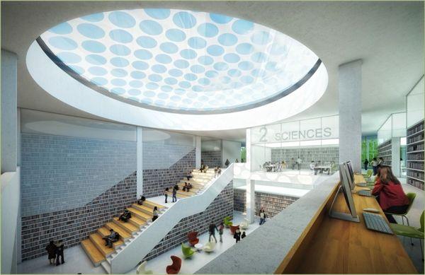 Vue intérieure de LILLIAD, learning center innovation (université de Lille 1)