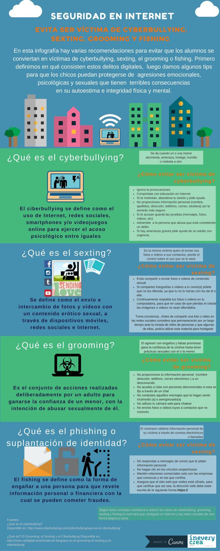 Seguridad en Internet (ciberbullying – sexting – grooming – fishing) #infografia #infographic | TICs y Formación