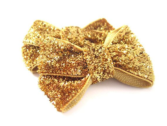 Gold Glitter Baby Hair Bows - Toddler Hair Bows - Infant Hair Bow Clips - Black Glitter - Pink Glitter - Red Glitter - Sparkle on Etsy, $4.99