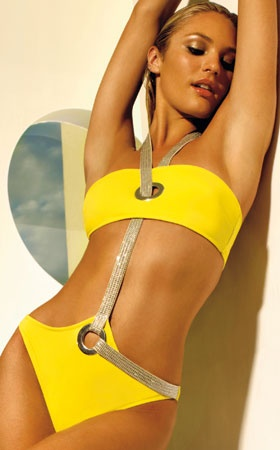 fierce fab yellow swimsuit with swarovski crystal - love