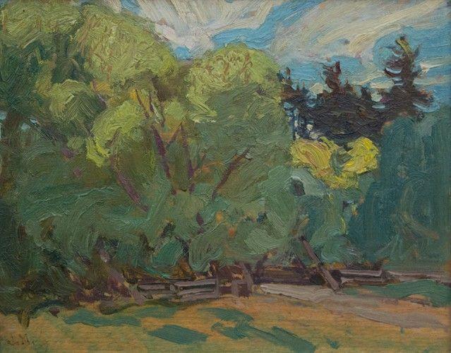J.E.H. MacDonald - York Mills 8.5 x 10.5 Oil on panel (1919)