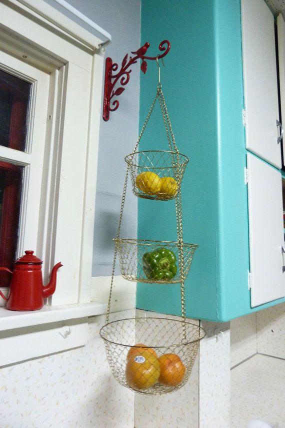 Vintage 3 Tier Wire Hanging Kitchen Basket Brass Color, Kitchen Hanging  Basket