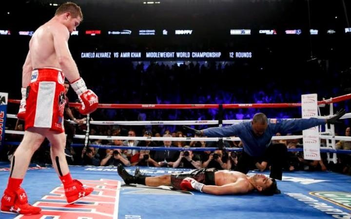 May 8 2016 - Amir Khan knocked out by Canelo Alvarez in Round 6 in Las Vegas WBC middleweight fight