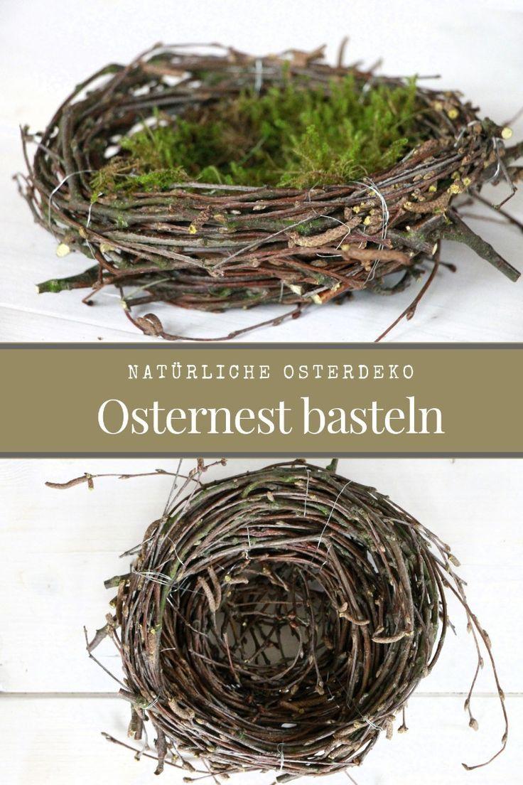 Osternest basteln: Osternest aus Birkenreisig Lavendelblog