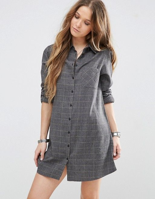 Glamorous | Клетчатое платье-рубашка с длинными рукавами Glamorous