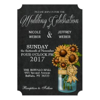 Sunflower Chalkboard Mason Jar Wedding Invitation