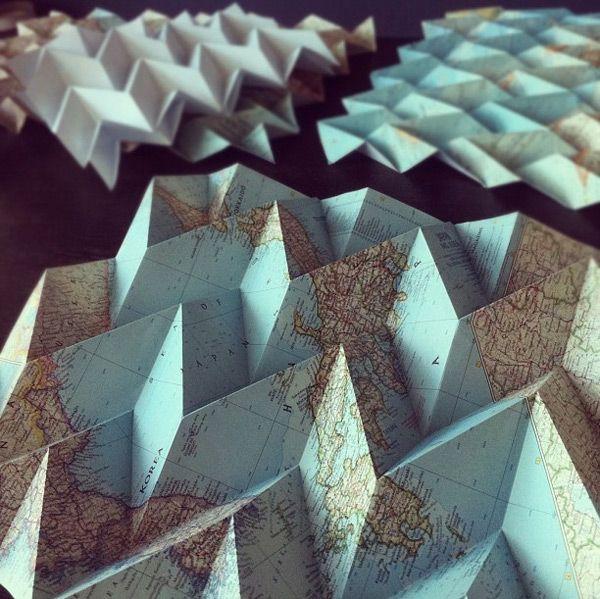 Map folding by David Lu: Wall Art, Geometry Art, Maps Folding, The Artists, Pattern, World Maps, Origami, Paper Crafts, Geometric Sculpture