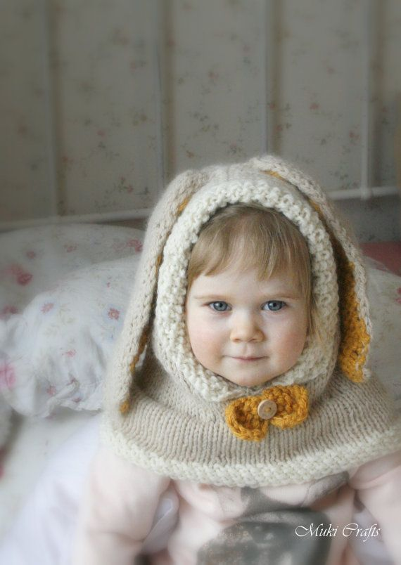 KNITTING PATTERN bunny hooded cowl Rabbit Windsor by MukiCrafts