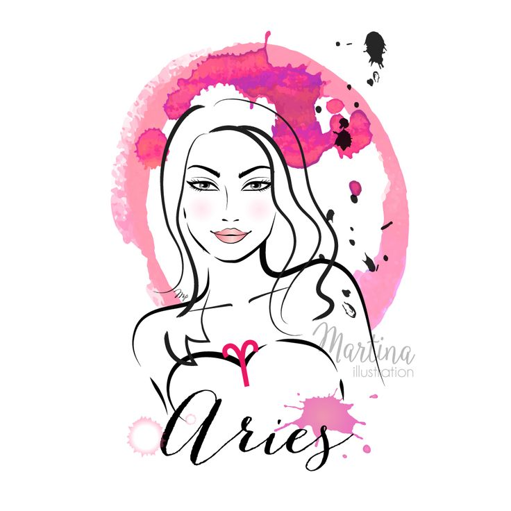 Aries horoscope zodiac sign fashion illustration