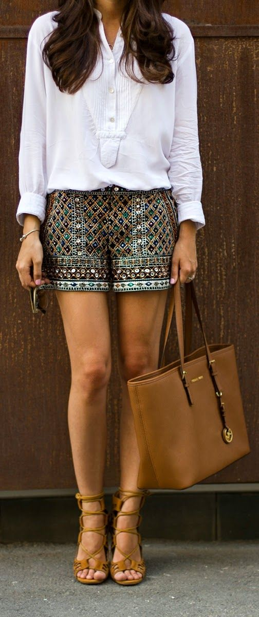 Zara Sequined Short with White Shirt and Michael K...