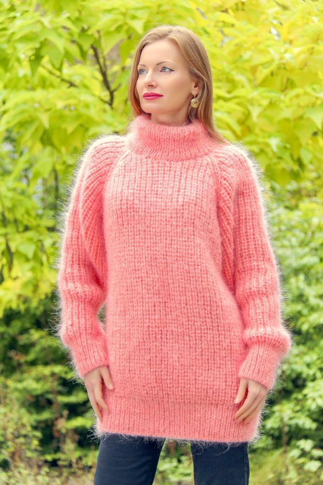 7e3305f27ff Pink hand knitted mohair sweater SUPERTANYA ribbed turtleneck fuzzy jumper   SuperTanya  Handknitted