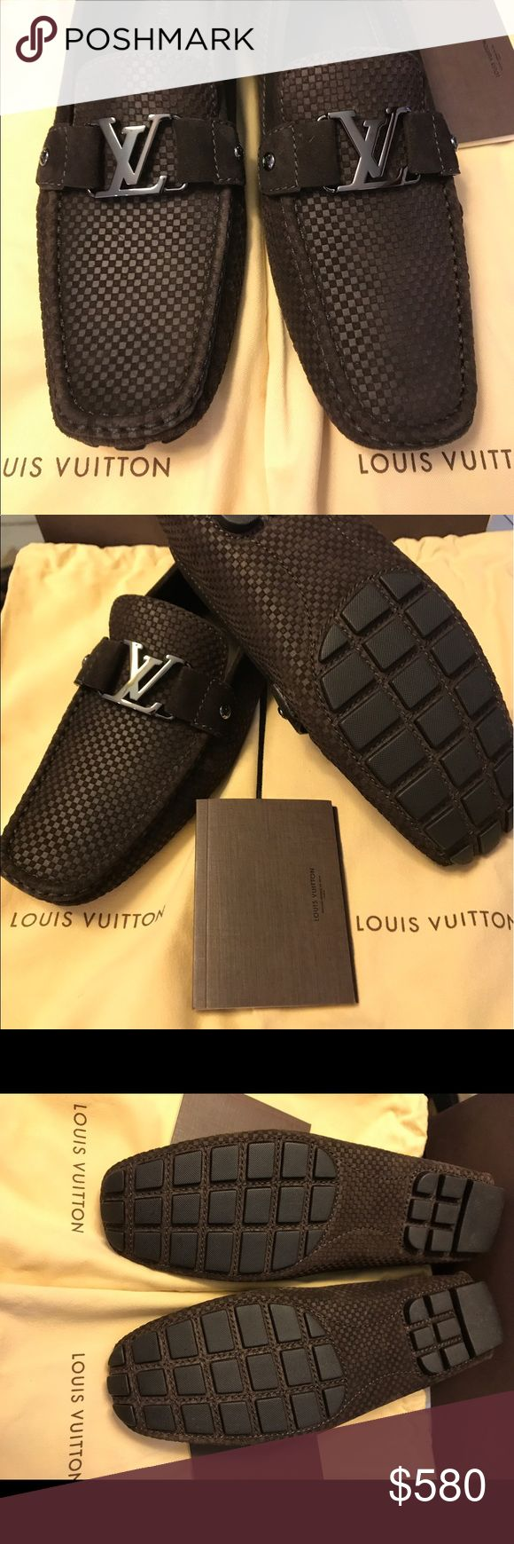 Louis Vuitton Men's Monte Carlo Loafer US size 9 1/2. Good as new. Brown Moccasin construction for exceptional suppleness and lightness. With Iconic LV initials. Hand stitched vamp and upper. With mini Damier embossed suede and supple rubber sole. Louis Vuitton Shoes Loafers & Slip-Ons