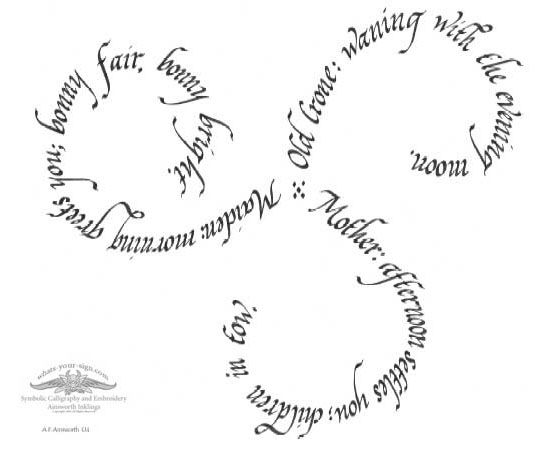 Beautiful Mother/Maiden/Crone script for  possible tattoo.