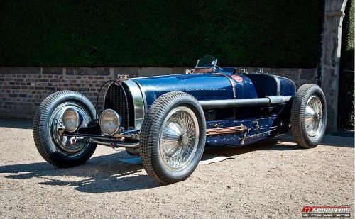 "petrolhead:  "" cloggo:  "" DIESELPUNK  The Bugatti Type 59 (1934) is powered by a 3.3-liter supercharged straight-8, capable of delivering some 250 horsepower. Only eight of these Grand Prix cars have been built. Seen at Schloss Dyck Classic Day.  From..."