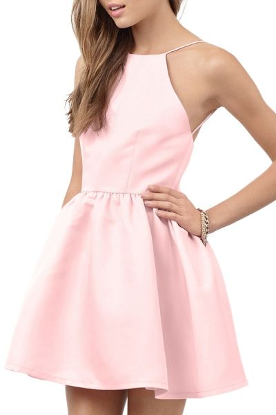 Pink Spaghetti Strap Open Back Flare Dress PINK: Mini Dresses | ZAFUL