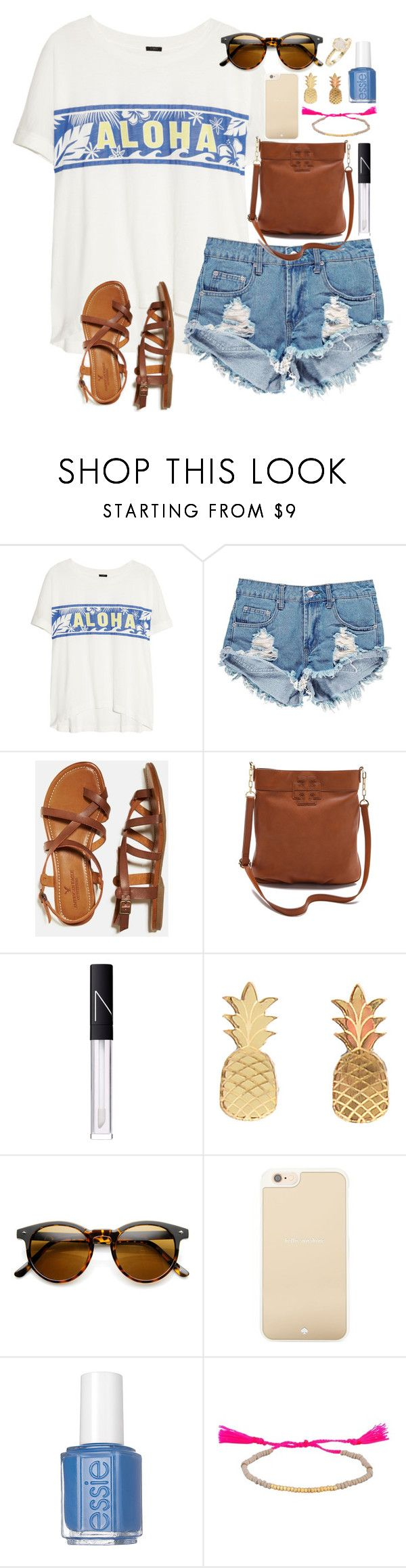 """""""Aloha"""" by lauren-hailey ❤ liked on Polyvore featuring J.Crew, Boohoo, American Eagle Outfitters, Tory Burch, NARS Cosmetics, Vinca, Kate Spade, Essie and Kendra Scott"""