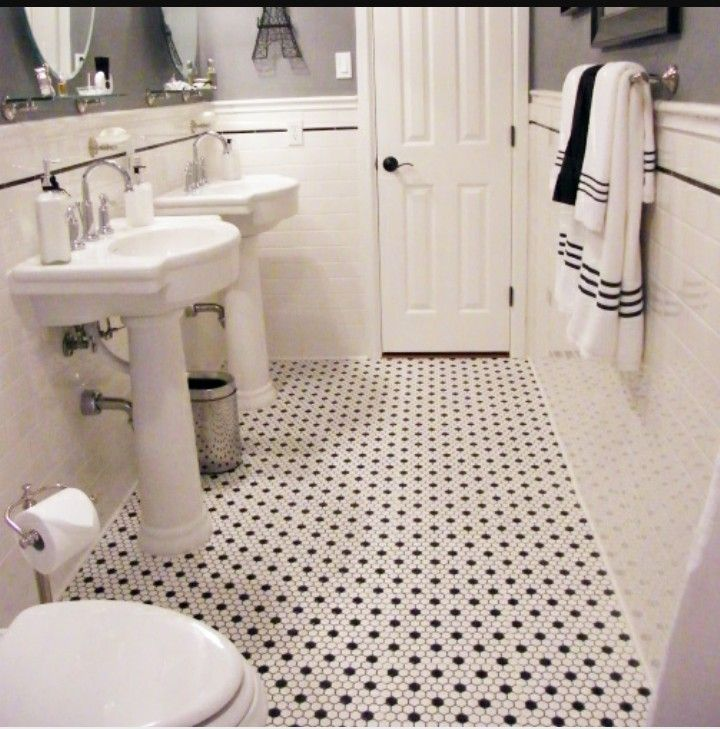 Pin By Marta Loddo On Bagno White Hexagon Tile Bathroom Black And White Tiles Bathroom Hexagon Tile Bathroom