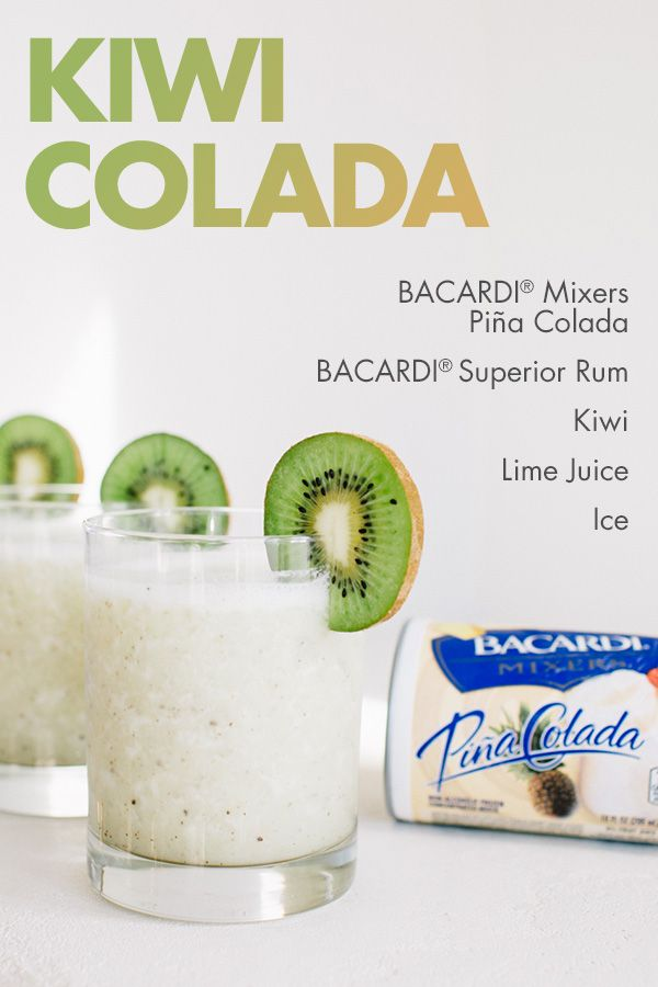 With refreshing, fresh kiwifruit and a little coconut kick, the Kiwi Colada makes an easy, fun, fruity, frozen addition to any BBQ! Blend BACARDI® Mixers Piña Colada, kiwifruit, lime juice, and your favorite rum to turn things up with a little down under fun!