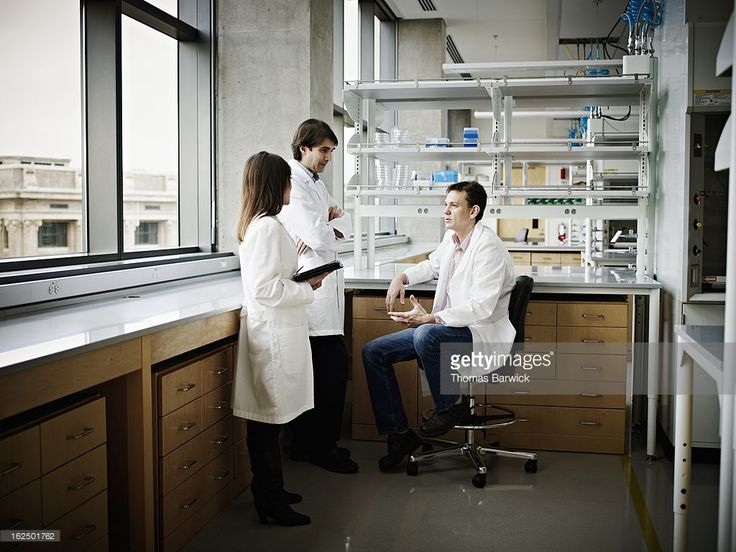 Stock Photo : Scientists in research lab discussing project