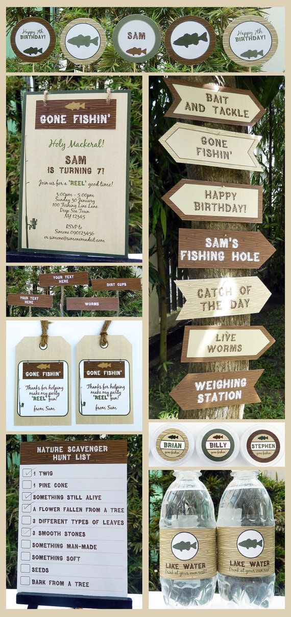 Fishing Birthday Party Invitation & full Printable Collection - EDITABLE text - you personalize at home with Adobe Reader - INSTANT DOWNLOAD...