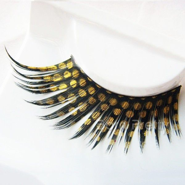 $1.81 1 Pair Yellow Dot Curly False Eyelash Kit Long Thick Party False Eyelash Kit - BornPrettyStore.com