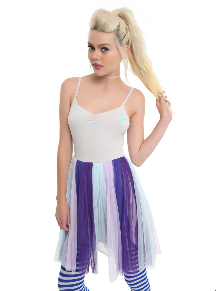 """<div>Just like Rarity, you're all about style, darling! Show off your fashion skills in this light grey, blue and purple <i>My Little Pony</i> dress with diamond cutie mark detail on the bust. A lavender, purple and blue tulle skirt wears all the colors of this magical pony's mane and tail. Adjustable straps.</div><div><br></div><div><ul><li style=""""list-style-position: inside !important; list-style-type:..."""