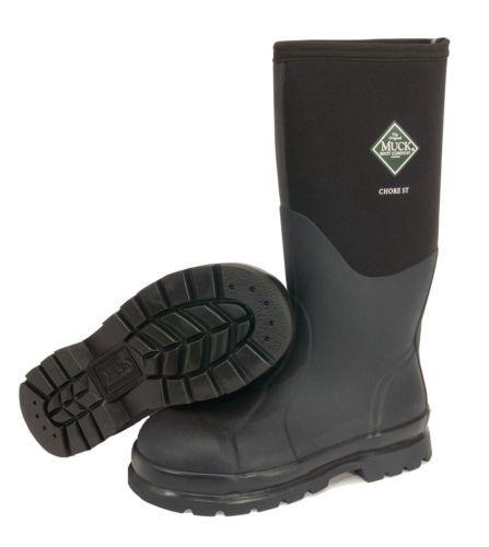 Brand New Muck Boot CHS-000A Men's Black Chore Hi Steel Toe Work Boots