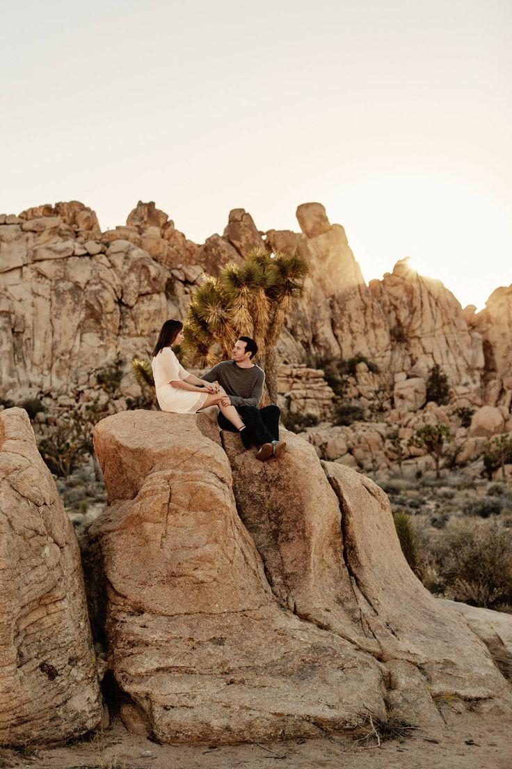 A desert sunset engagement shoot
