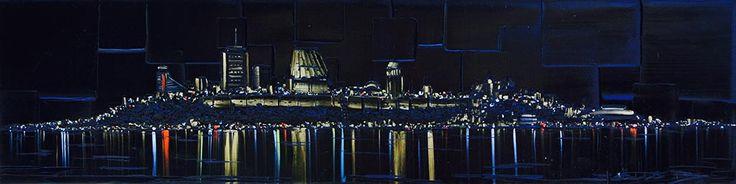 Une nuit à Qc par Joëlle Blouin, artiste présentement exposée aux Galeries Beauchamp. www.galeriebeauchamp.com