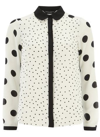 Cream mix match spotted shirt - Blouses & Shirts - Tops & T-Shirts - Clothing €30
