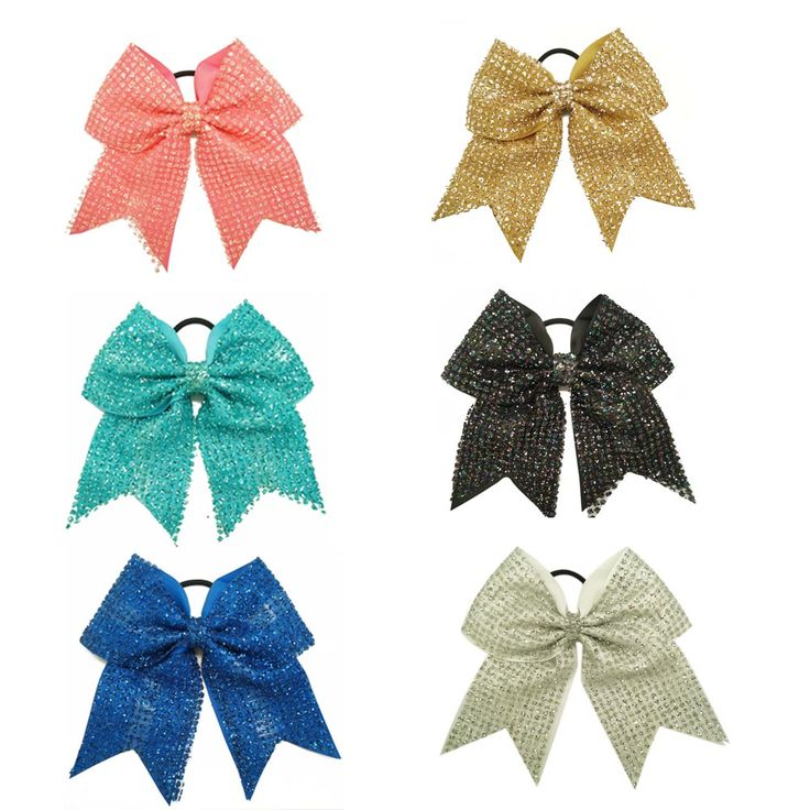 """30 Pcs/lot 8"""" Girls Sequin Cheer Bow With Grossgrain Ribbon Kids Children Boutique Bling Elastic Hairband Hair Accessories #Affiliate"""