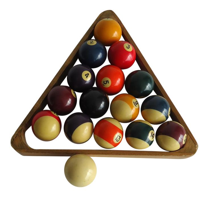 Vintage Billiards Pool Balls With Wooden Rack on Chairish.com