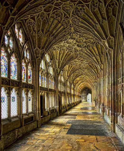 The famous cloister of Gloucester Cathedral, England (by Saffron Blaze).