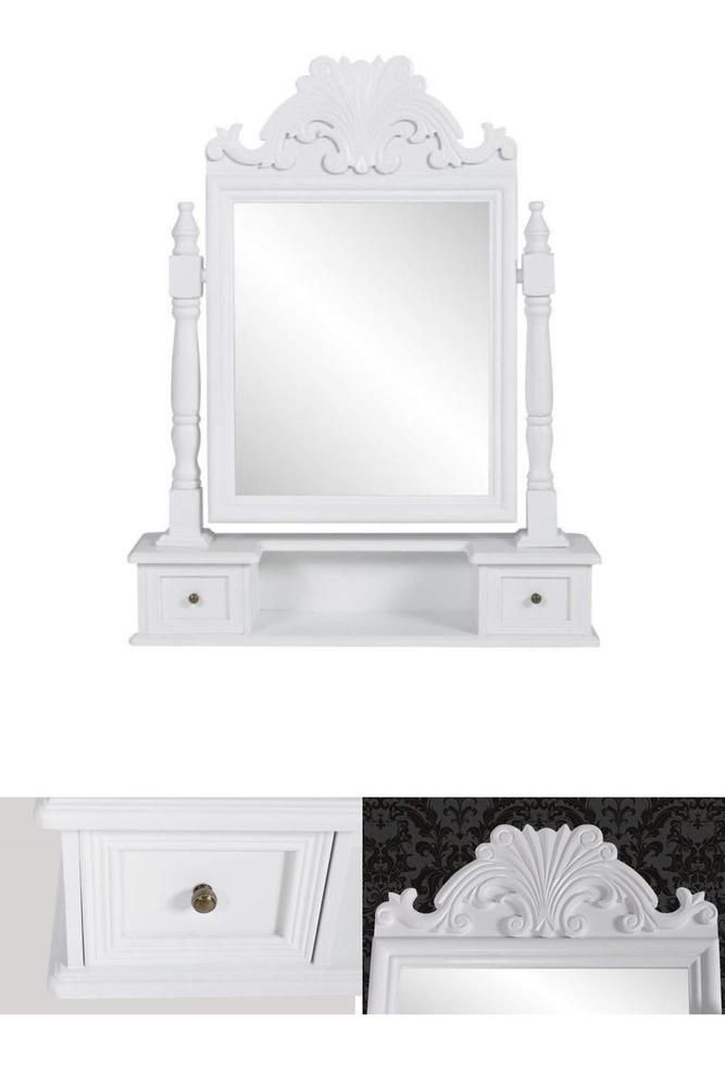 Vanity Table White Mirror Dressing Makeup Standing Tabletop Cosmetic Girls Room Vanitytablewhitemirror White Mirror Vanity Table Mirror