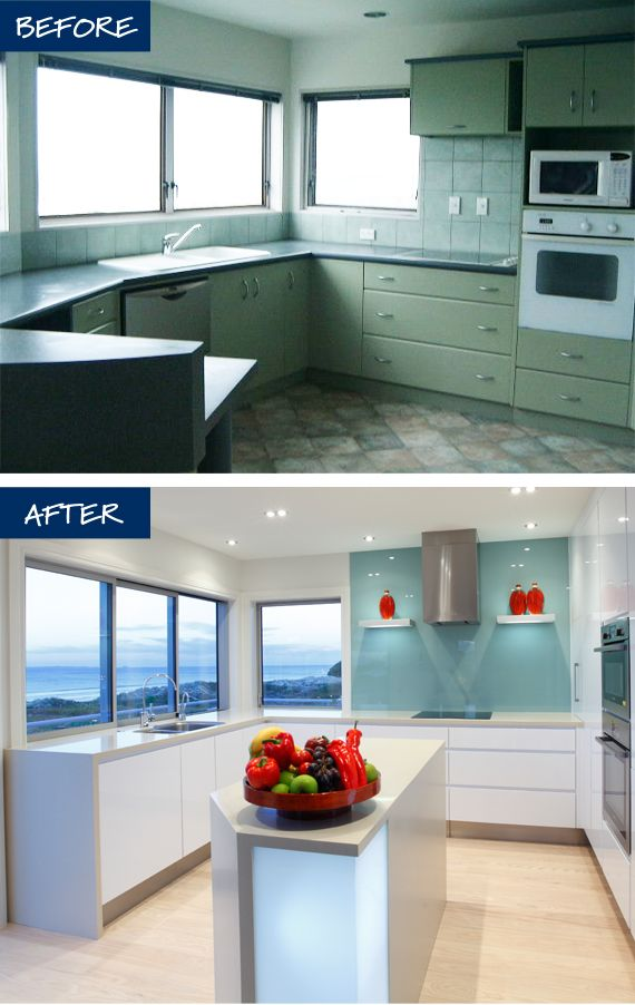 Before and after kitchen renovation photos / ideas for the beach house | Designed by Mastercraft Kitchens | #KitchenDesign #BeforeAfter