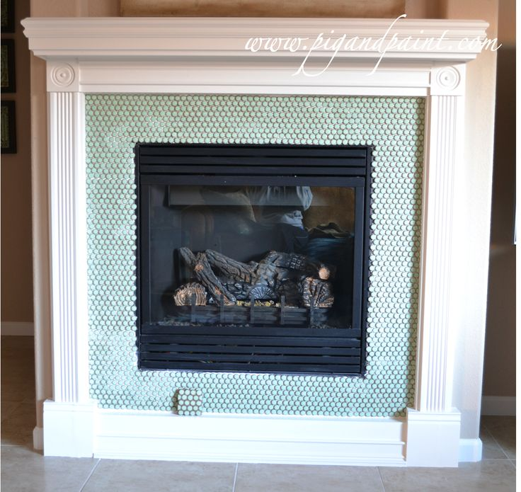 penny round tile fireplace - Google Search | H - Finish ...