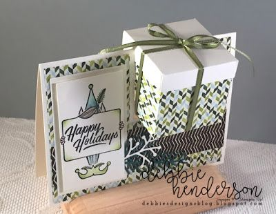 Debbie's Designs: A New Box On A Card & Video using Stampin' Up! Festive Phrases. Debbie Henderson. #stampinup #boxonacard #festivephrases #debbiehenderson #debbiesdesigns #cardfold
