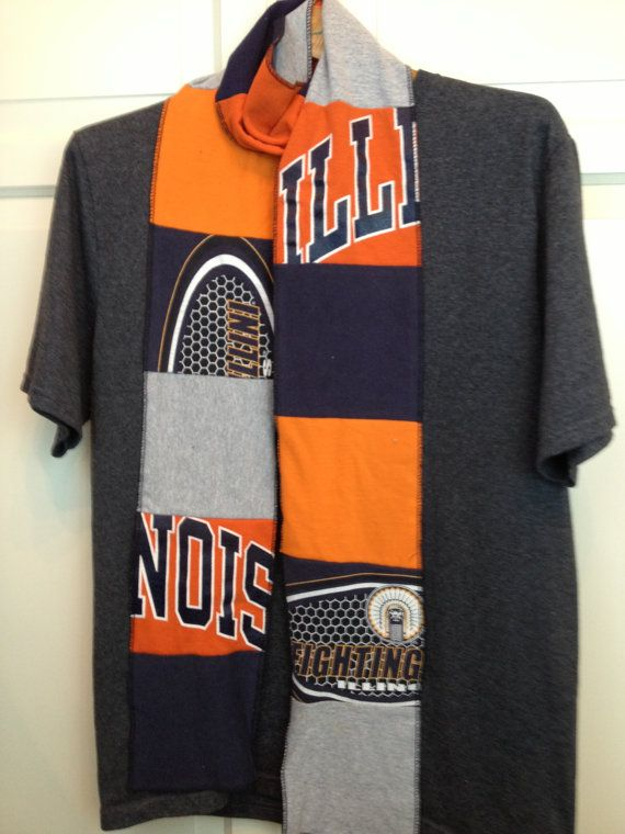University of Illinois Fighting Illini tshirt scarf by ginsnappity