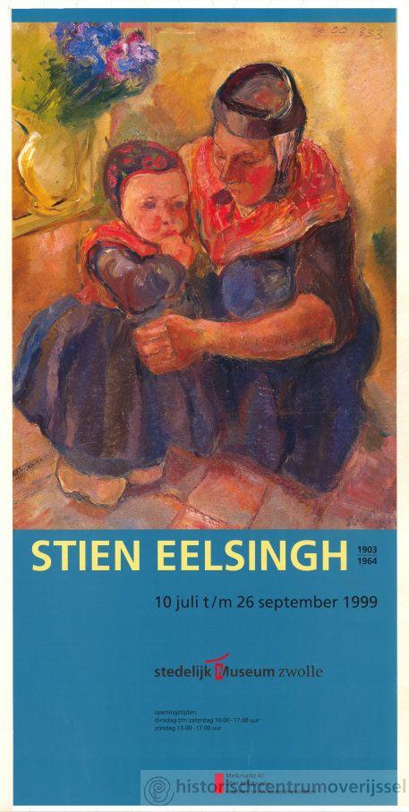 """Affiche van schilderij van Stien Eelsingh; boerenvrouw in klederdracht die zich bekommert om haar dochtertje. Expositie 1999 in Stedelijk Museum Zwolle. Affiche is 2zijdig bedrukt. Stien (Cristiana) Eelsingh (Zwolle 1903 - Meppel 1964) was Nederlands schilderes die afwisselend in Amsterdam en Staphorst werkte. Haar vader was oorspronkelijk als huisschilder in dienst van de NS en werkte later als fotograaf. Hoewel geboren te Zwolle, heet ze """"schilderes van Staphorst"""". #Overijssel #Staphorst"""