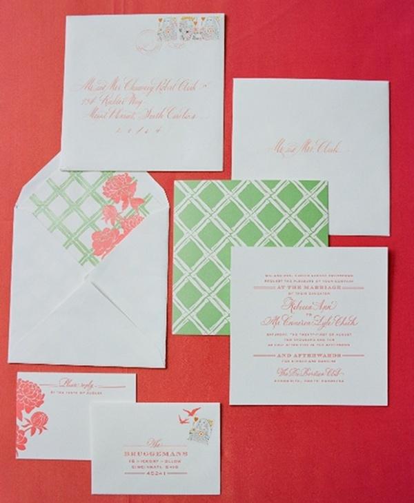 Cheree Berry - Trellis-inspired preppy wedding stationery