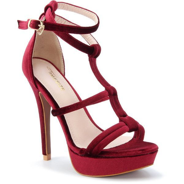 2cc3c9e34f56 Red Open Toe Strappy Platform Velvet High Heels (2