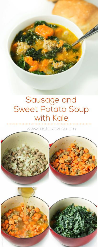 Sausage and Sweet Potato Soup with Kale (paleo, gluten free, dairy free, Whole30)
